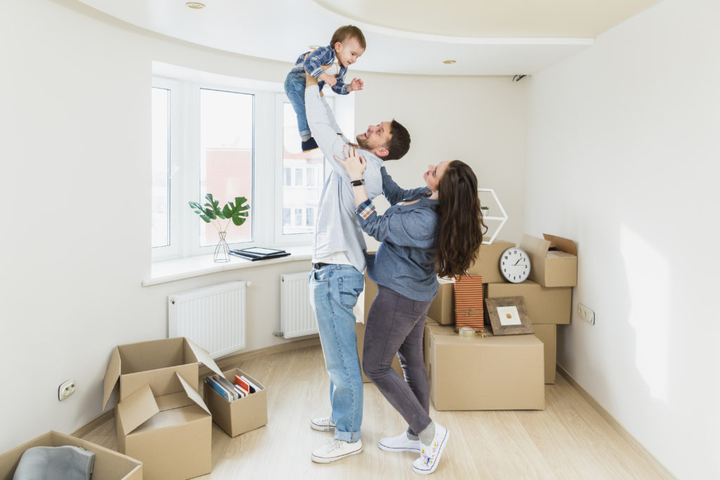 Young family in new house.